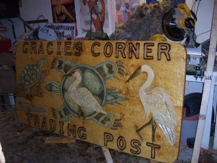 Gracie's Corner Trading Post Sign